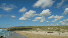 White clouds above Perranporth beach time lapse, Cornwall UK. Stock Footage