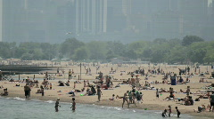 Crowded city beach in the summer Stock Footage