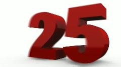 Twenty five Percent Off (25%off). Red. Stock Footage