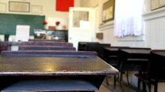 Historic empty classroom - stock footage