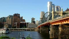 Pittsburgh Skyline and Smithfield Street Bridge 1656 Stock Footage