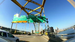 View of Pittsburgh as You Emerge from the Fort Pitt Tunnel Stock Footage