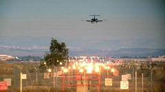Landing of a jet plane - evening time 1 Stock Footage