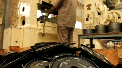 Manufacturing of Backing Plate for an Automotive Brake Assembly Stock Footage