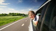 Stock Video Footage of boy in car