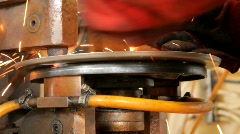 Welding of Metal Plate for an Automotive Brake Assembly Stock Footage