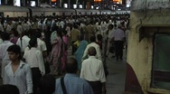 Stock Video Footage of Crowded Railway Station, Mumbai, India
