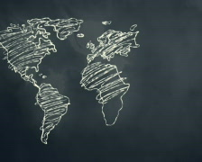 World Map Scribbling on a Chalkboard PAL Stock Footage