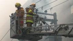 Ladder Firefighters Hose FIREMEN BLAZE Fire Burning Building Emergency BATTLE - stock footage