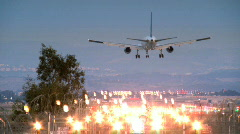Perfect Landing of a jet plane - evening time Stock Footage