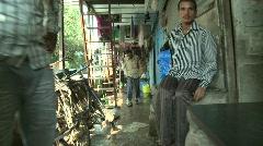 In side the Dharavi slum, Mumbai, India Stock Footage