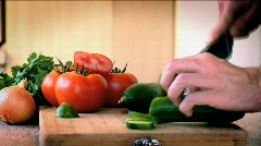 Cutting a Cucumber 2 Stock Footage