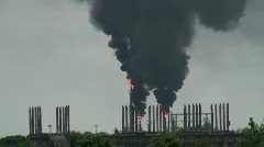 Dirty smoke rising from a refinery in Romania, ecology problems Stock Footage