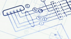 Electrical Circuit Diagram Blueprints, close up Stock Footage
