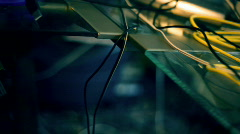 T190 technology tech jumbled wires mess messy desk Stock Footage