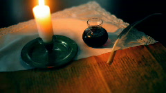 T190 candle light early american history historic candle light Stock Footage