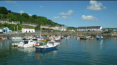 Porthleven harbour boats time lapse. Stock Footage