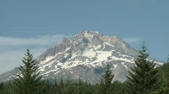Stock Video Footage of Oregon - Mt. Hood framed in evergreens