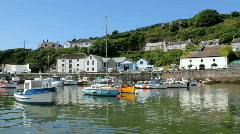 Porthleven harbour boats Stock Footage