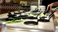Lettuce on plate at Salad Bar Stock Footage