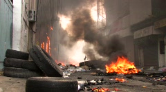 CITY STREET BURNS During Riot Protest Civil War Bangkok Thailand Red Shirt 2010 Stock Footage