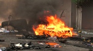 Stock Video Footage of Burning Barricade During Riot Protest Medium