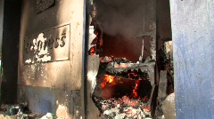 BURNING Store Looted Bombed War Riot Revolution Terror Attack Terrorist Bomb - stock footage