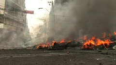 Burning Streets Civil War Terrorist Attack Smoking Ruins Bombed City - stock footage