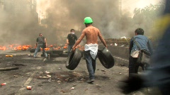 Protesters Build Barricade During Riot Civil War Battle Protest Bangkok 2010   Stock Footage