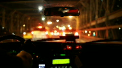 Driving in a taxi - stock footage