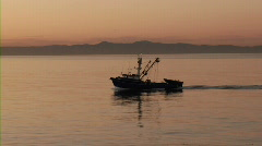 California fishing boat at sunrise - Catalina Island in background Stock Footage