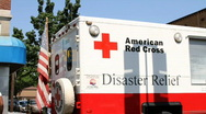 Stock Video Footage of American Red Cross Ambulance HD