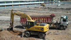 Excavate Parking lot for new construction - stock footage