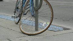 Vandalized bicycle. - stock footage