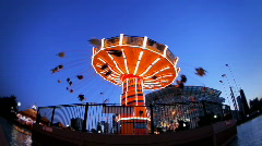 Stock Video Footage of Swing Ride Navy Pier