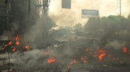 Stock Video Footage of Burning Street & Barricade During Riot Protest 2010