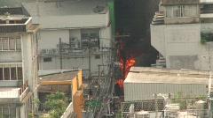 Bangkok Burns in Street Riots Terror Burning City Bomb Blast Fire Explosion Stock Footage