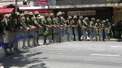 Thai Troops in Riot Formation - stock footage