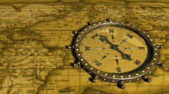 Background With Old Map and Compass - Compass 01 (HD) Stock Footage