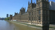 Stock Video Footage of Houses of Parliament and the river Thames London England
