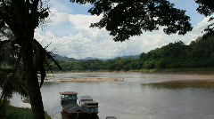 mekong river in lao - stock footage