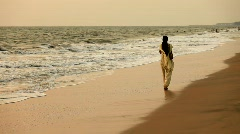 Lonly lady in a Beach Stock Footage