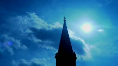 Church Tower with Cross and Clouds - natural Stock Footage