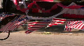 Little American Flags Line Parade Float HD Footage