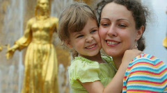 Mother and daughter near Fountain Friendship of Peoples Stock Footage