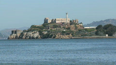 Ship passing Alcatraz Stock Footage