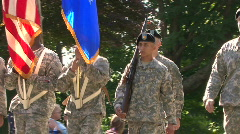 Military Personnel March In A Memorial Day Parade Stock Footage