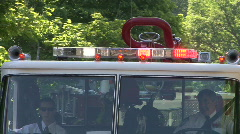 Lights & Siren Of A Fire Truck In Parade Stock Footage