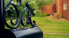 T191 happy red head redhead college student mailbox mail box 1 Stock Footage