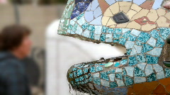 Lizard Fountain in Park Guell, Barcelona Stock Footage